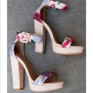 Shoe Republic LA Buckled Chunky Embroidered Heels
